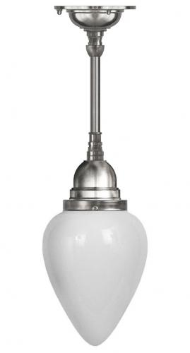 Bathroom Ceiling Lamp - Byström pendant 80 nickel, white drop