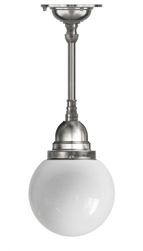 Bathroom Ceiling Lamp - Byström pendant 80 nickel, globe shade