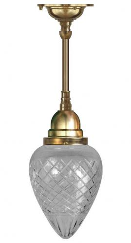 Bathroom Ceiling Lamp - Byström pendant 80 brass, drop clear