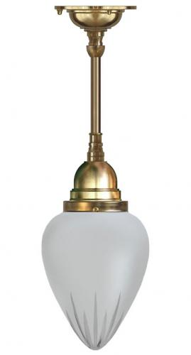 Bathroom Ceiling Lamp - Byström pendant 80 brass, frosted glass drop