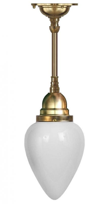 Taklampe - Byström 80 messing, opalhvitt kuppel - arvestykke - gammeldags dekor - klassisk stil - retro