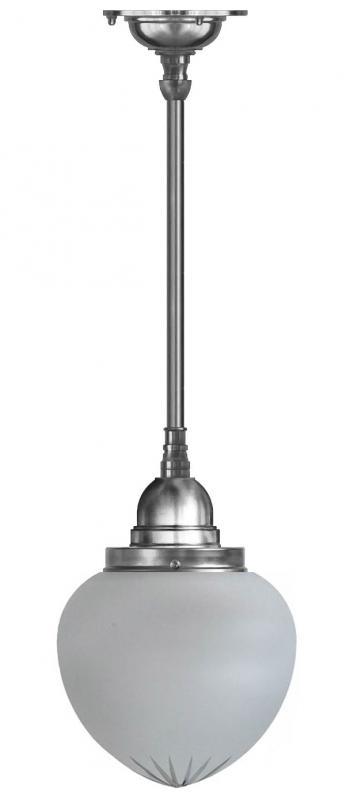 Taklampa - Byströmpendel 100 förnicklad, mattdroppe
