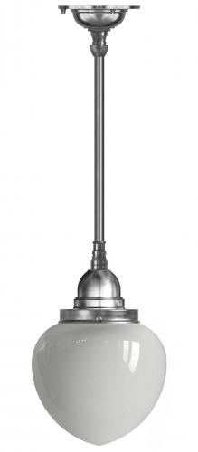 Bathroom Ceiling Lamp - Byström pendant 100 nickel, white drop