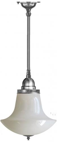 Bathroom Ceiling Lamp - Byström 100 nickel, white anchor shade