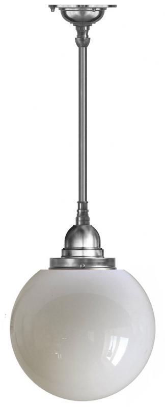 Taklampa - Byströmpendel 100 förnicklad, stor klotskärm