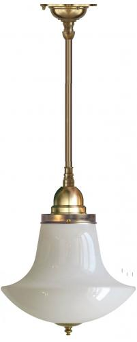 Bathroom Ceiling Lamp - Byström 100 brass, white anchor shade