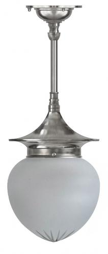 Bathroom ceiling Lamp - Dahlberg pendant 100 nickel, frosted drop shade