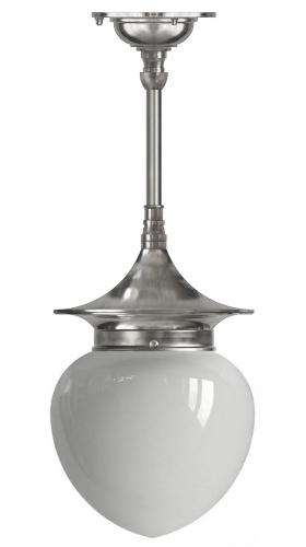 Bathroom ceiling Lamp - Dahlberg pendant 100 nikkel, opal white drop