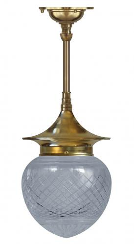 Bathroom Ceiling Lamp - Dahlberg pendant 100, brass drop shade
