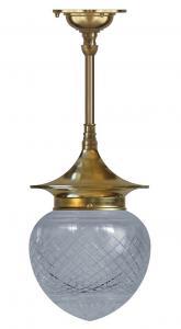 Badrumslampa - Taklampa Dahlbergspendel 100 mässing klarglas droppe