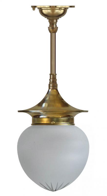 Taklampa - Dahlbergspendel 100 mässing mattglas droppe