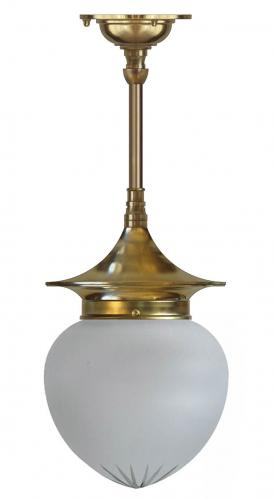 Bathroom ceiling Lamp - Dahlberg pendant 100 brass, frosted drop shade