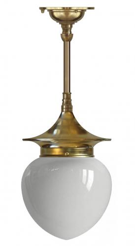 Bathroom ceiling Lamp - Dahlberg pendant 100 brass, opal white drop