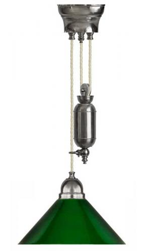 Lamp - Craftmans nickel rise and fall pendant green shade