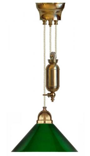 Lamp - Craftmans rise and fall pendant green shade