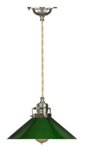 Taklampe - Skomakerlampe, forniklet messing grønn skjerm gul-hvit ledning