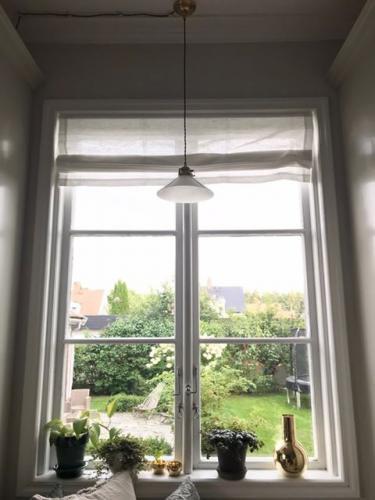 Taklampe - Skomakerlampe nikkel hvit skjerm