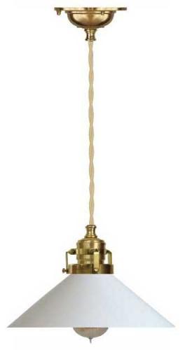 Taklampe - Skomakerlampe messing hvit skjerm gul-hvit ledning