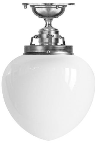 Ceiling lamp - Craftmans Pendant nickel-plated brass, white drop shade