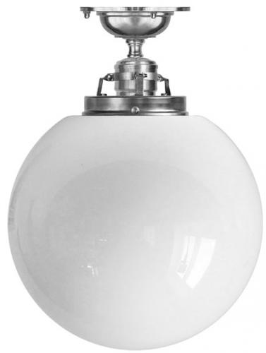 Ceiling lamp - Craftmans Pendant nickel-plated brass, opal white glass globe