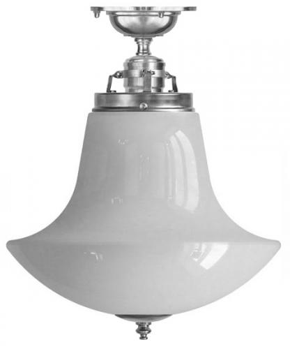 Ceiling lamp - Craftmans Pendant nickel-plated with opal white anchor shade