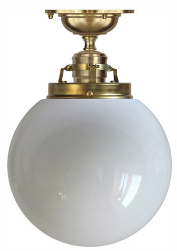 Ceiling lamp - Craftmans Pendant opal white glass globe