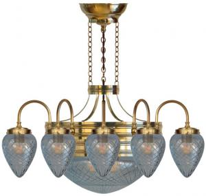 Chandelier - Nine-armed ring chandelier 1900