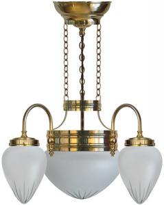 Chandalier - Three-armed ring chandelier with frosted glass
