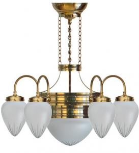 Chandalier - Six-armed ring chandelier with frosted glass