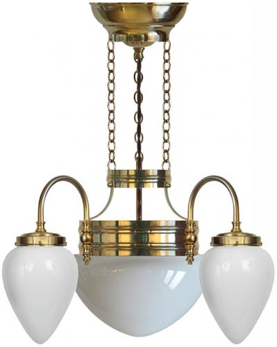 Chandelier - Three-armed ring chandalier with white glass