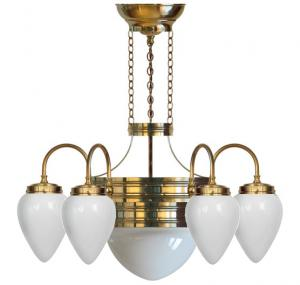 Chandalier - Six-armed ring chandalier with white glass