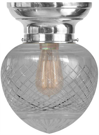 Ceiling lamp - Bowl lamp Fröding 100 nickel-plated clear drop