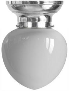 Bowl lamp - Fröding 100 nickel-treated, cut opal white glass