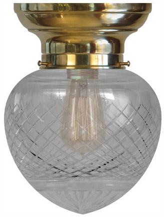 Bowl lamp - Fröding 100 brass, cut clear glass