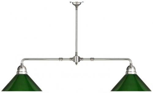 Lamp - Game table lamp in nickel with green shades