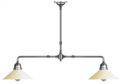 Taklampa - Spelbordslampa 60 förnicklad, vit skärm
