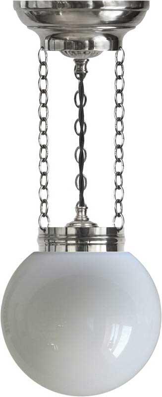 Ampel - Heidenstam 100 nikkel, opalhvit kuppel - arvestykke - gammeldags dekor - klassisk stil - retro