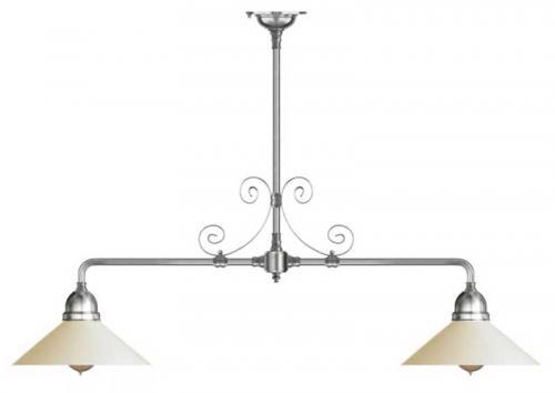 Taklampa - Spelbordslampa förnicklad med ornament, vit skärm
