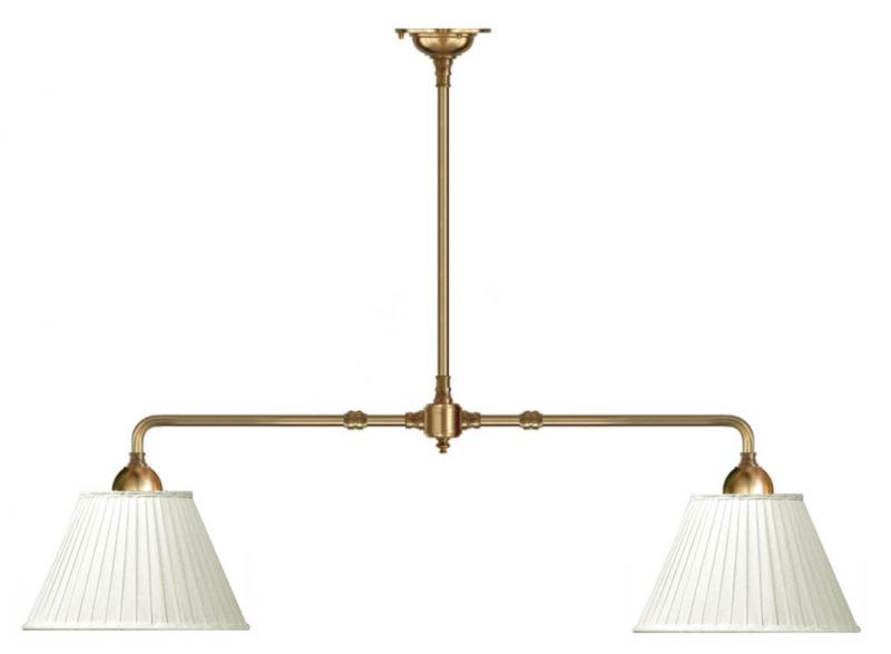 Taklampa - Spelbordslampa mässing med tygskärmar