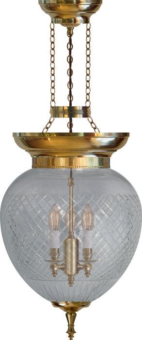 Foyer Bowl Lamp 200 Br Cut Clear Gl