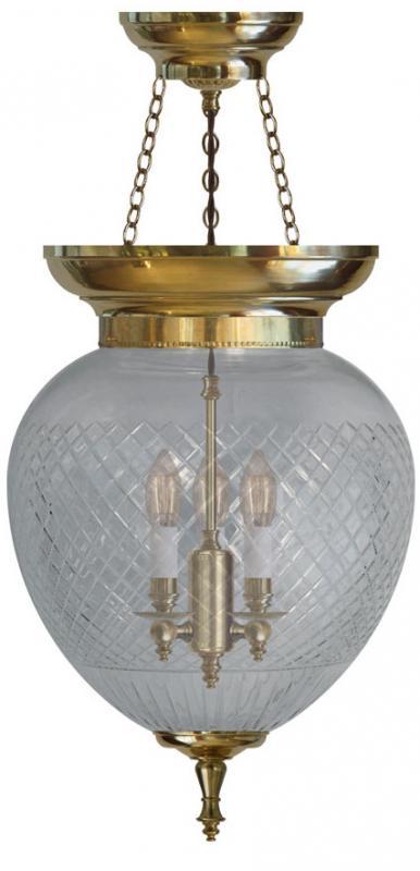 Foyer Bowl Lamp - 200 brass, cut clear glass