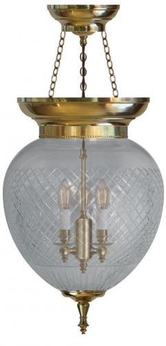 Foyer Bowl Lamp - 200 brass, cut clear glass