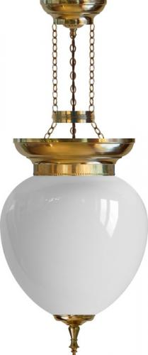 Foyer Bowl Lamp - 200 brass, opal white glass