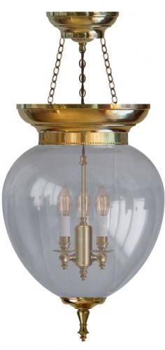 Foyer Bowl Lamp - 200 brass, clear glass