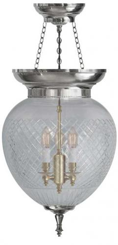 Foyer Bowl Lamp - 200 nickel, clear glass
