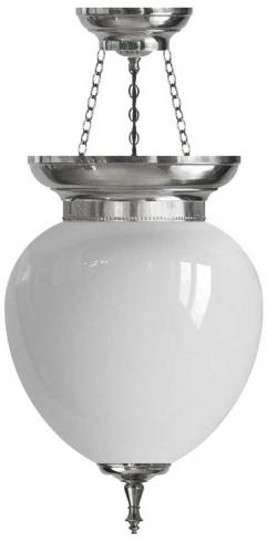 Foyer Bowl Lamp - 200 nickel-treated, opal white glass