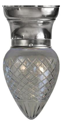 Taklampa - Frödingplafond 80 droppe klarglas förnicklad - sekelskiftesstil - gammaldags inredning - klassisk stil - retro