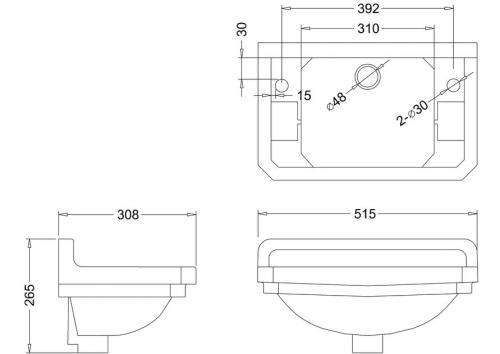 Tvättställ Burlington - Edwardian JR 51 cm med handduksstång - sekelskifte - gammaldags stil - klassisk inredning - retro