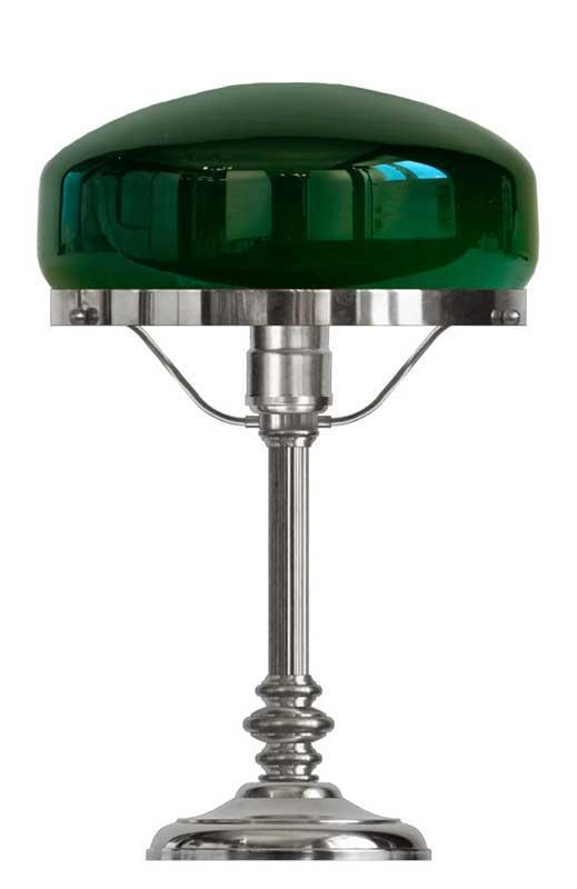 Bordlampe - Karlfeldt nikkel, grønn skjerm