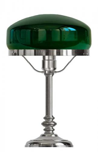 Table lamp - Karlfeldt nickel, green shade
